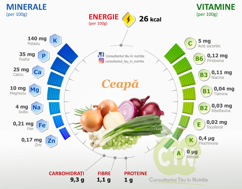 Ceapa - valori nutritionale
